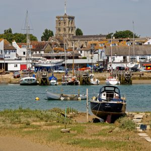 Shoreham-by-Sea_harbour_and_St_Mary_de_Haura_Church,_West_Sussex,_England